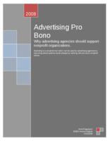 Advertising Pro Bono: Why Advertising Agencies should Support Nonprofit Organizations