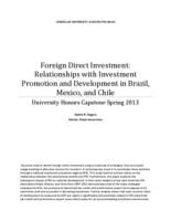 Foreign Direct Investment: Relationships with Investment Promotion and Development in Brazil, Mexico and China