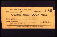 1962-1963 mess coupon for cafeteria