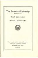 10th Commencement Program, American University, Spring 1924