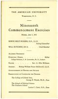 19th Commencement Program, American University, Spring 1933