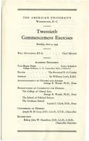 20th Commencement Program, American University, Spring 1934