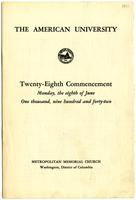 28th Commencement Program, American University, Spring 1942