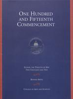 115th Commencement Program, College of Arts and Sciences, Spring 2002