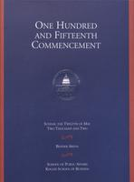 115th Commencement Program, School of Public Affairs and Kogod School of Business, Spring 2002