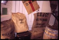 Bags of whaling meal and meat extract at Grytviken museum