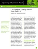 Can Financial Literacy Enhance Asset Building?