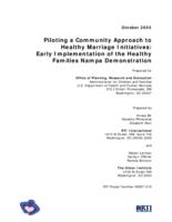Piloting a Community Approach to Healthy Marriage Initiatives: Early Implementation of the Healthy Families Nampa Demonstration