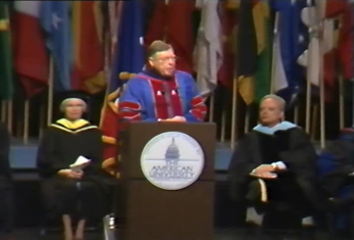 Charles A. Bowsher Commencement Address, 103rd Commencement, School of Public Affairs and Kogod School of Business, Spring 1996