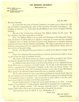 Circular letter from Geo. W. Gray asking for subscriptions in support of American University, 1892 July 20