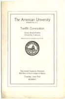 12th Commencement Program, American University, Spring 1926