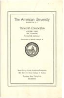 13th Commencement Program, American Univesrity, Spring 1927