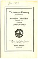 14th Commencement Program, American University, Spring 1928
