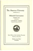 15th Commencement Program, American University, Spring 1929