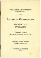 16th Commencement Program, American University, Spring 1930