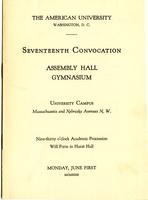 17th Commencement Program, American University, Spring 1931