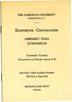 18th Commencement Program, American University, Spring 1932