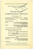 24th Commencement Program, American University, Spring 1938