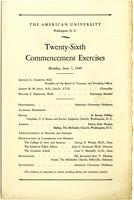 26th Commencement Program, American University, Spring 1940