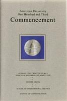 103rd Commencement Program, School of International Service and School of Communication, Spring 1996