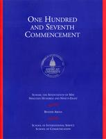 107th Commencement Program, School of International Service and School of Communication, Spring 1998