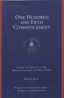 105th Commencement Program, School of International Service and School of Communication, Spring 1997