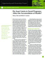 Do Asset Limits in Social Programs Affect the Accumulation of Wealth?