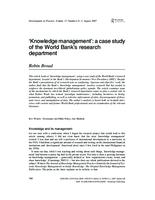 'Knowledge management': a case study of the World Bank's research department