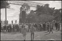 Alternate view of anti-war rally attendees listening to speakers on the Sylvan Theater stage, 26 October 1968