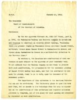 Letter from Aldis B. Browne to the Board of Commissioners of the District of Columbia, 1914 January 16