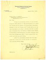 Letter from J.H. Stephens, Superintendent, Washington Railway and Electric Company, to Bishop John W. Hamilton about request to place a waiting station on the grounds of American University, 1920 August 11