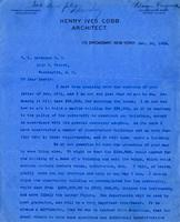 Letter from Henry Ives Cobb to W.L. Davidson discussing plans for American University's campus, 1903 December 22