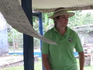 Ruby, a Peace Corps Volunteer, teaching an agribusiness seminar on coffee pruning in El Plátano, Panama