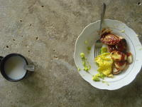 Aerial view of an egg and potato breakfast, El Plátano, Panama