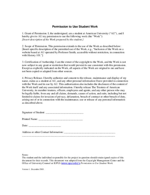 Release Form  Permission To Use Student Work  Release Form