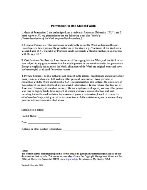 Release Form - Permission To Use Student Work - Release Form