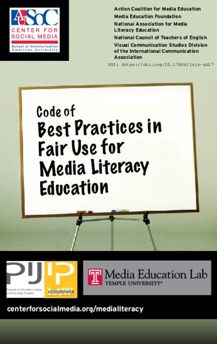 Code Of Best Practices In Fair Use For Media Literacy Education Au