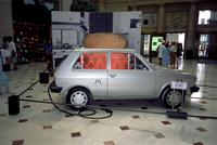 """Burnt"" car at Yugo Next exhibition in Union Station, Washington, D.C."