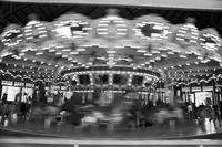 Action shot of the Dentzel Carousel at Glen Echo Park, Glen Echo, Maryland