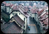 Aerial view of buildings, rooftops, and streets, Berne, Switzerland