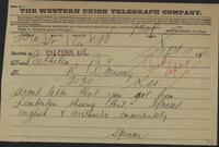 Western Union telegram from Spencer Mussey to R.D. Mussey, September 9, 1890